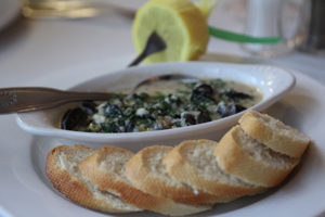 Baked French Escargot in garlic butter sauce, Parmesan and Toast